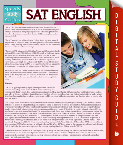 SAT English (Speedy Study Guide)