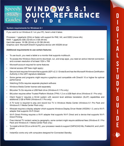 Windows 8.1 Quick Reference Guide (Speedy Study Guides)