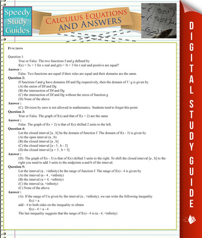 Calculus Equations And Answers (Speedy Study Guides)