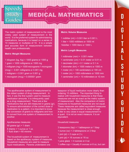 Medical Mathematics (Speedy Study Guides)