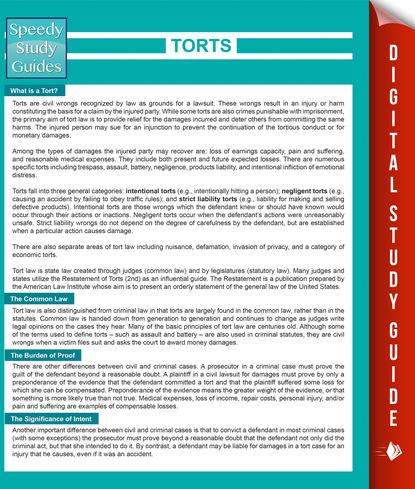 Torts (Speedy Study Guides)