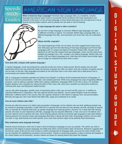 American Sign Language (Speedy Study Guide)