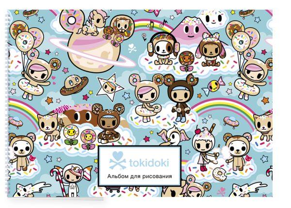 Вселенная tokidoki. Пончики. Альбом для рисования (бирюзовый) (формат А4, офсет 160 гр., 50 страниц, евроспираль, с заданиями)